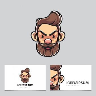 Mascote de homem hipster e cartões de visita