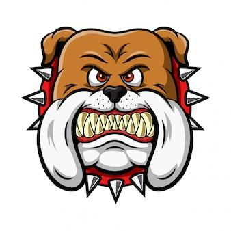Mascote de ilustração de cabeça de buldogue bravo