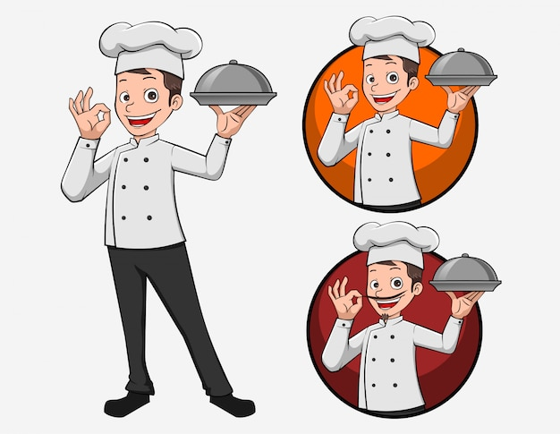 Mascote de ilustração dos desenhos animados logotipo chef