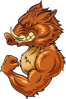 Mascote de javali com raiva dos desenhos animados