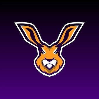Mascote de jogo de coelho e logotipo de esportes