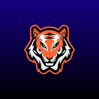 Mascote de jogos de cabeça de tigre. design de logotipo de esports de tigre. ilustração vetorial