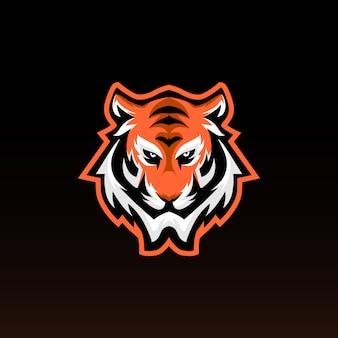 Mascote de jogos de cabeça de tigre. tigre e logotipo dos esportes. estilo moderno