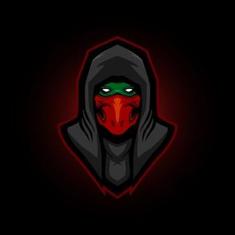 Mascote de jogos de logotipo ninja e esportes