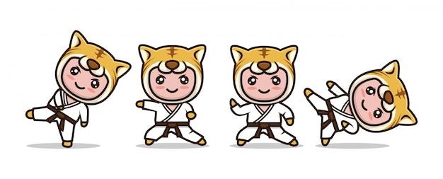 Mascote de karatê tigre bonito