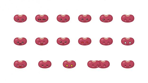 Mascote de kawaii bonito de feijão. definir rostos de comida kawaii