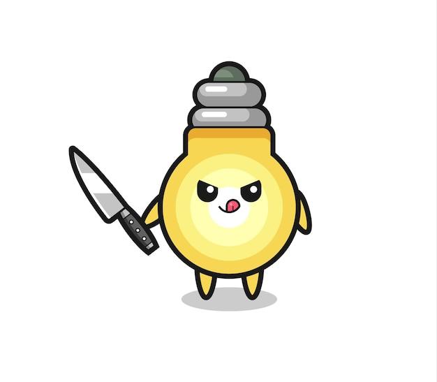 Mascote de lâmpada fofa como um psicopata segurando uma faca, design de estilo fofo para camiseta, adesivo, elemento de logotipo