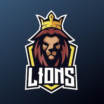 Mascote de leão para esportes e esports logotipo isolado