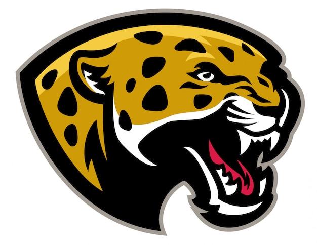 Mascote de leopardo com raiva