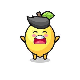 Mascote de limão fofo com uma expressão de bocejo, design de estilo fofo para camiseta, adesivo, elemento de logotipo