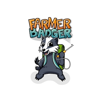 Mascote de logotipo de agricultor texugo