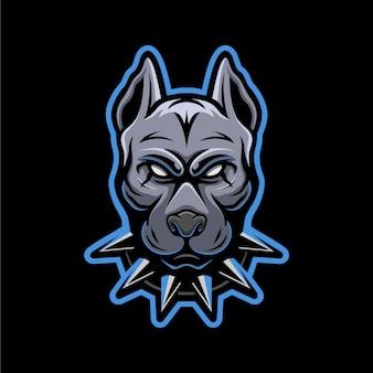 Mascote de logotipo de cabeça de pitbull