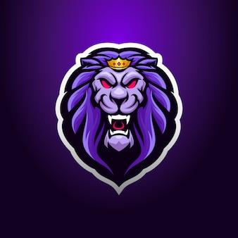 Mascote de logotipo de cabeça de rei leão