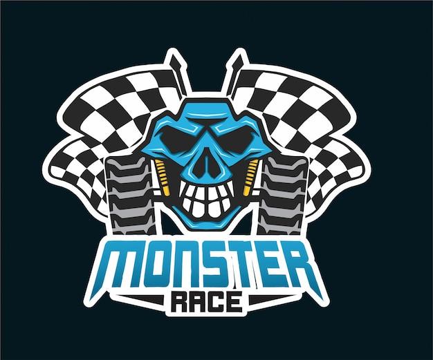 Mascote de logotipo de corrida de monstro