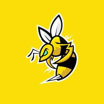 Mascote de logotipo de esportes abelha com raiva