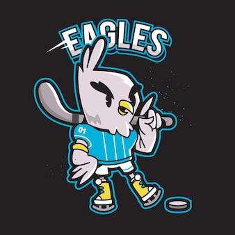 Mascote de logotipo de esportes de caráter animal de águia