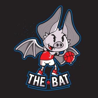 Mascote de logotipo de esportes personagem de morcego