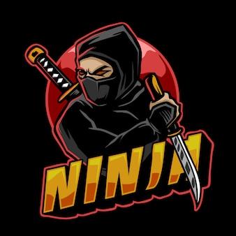 Mascote de logotipo de guerreiro ninja