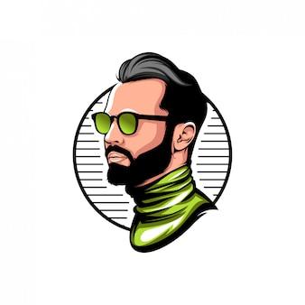 Mascote de logotipo de headshot de homens
