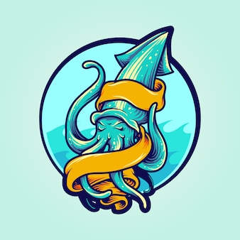 Mascote de logotipo de lula com banner Vetor Premium