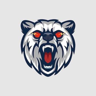 Mascote de logotipo de panda com raiva