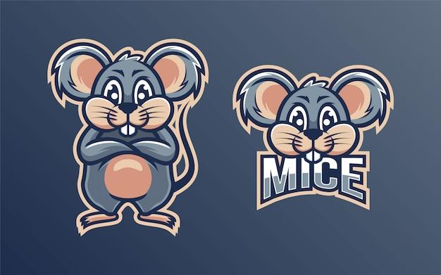 Mascote de logotipo de personagem de ratos fofos