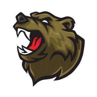Mascote de logotipo de urso com raiva