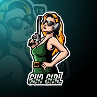Mascote de logotipo esport garota de arma