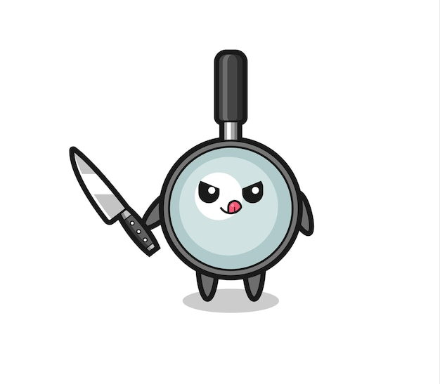 Mascote de lupa fofa como um psicopata segurando uma faca, design de estilo fofo para camiseta, adesivo, elemento de logotipo