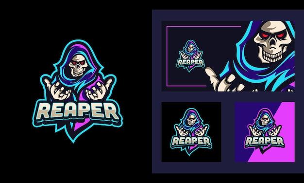Mascote de luz de néon reaper e modelo de design de logotipo esportivo