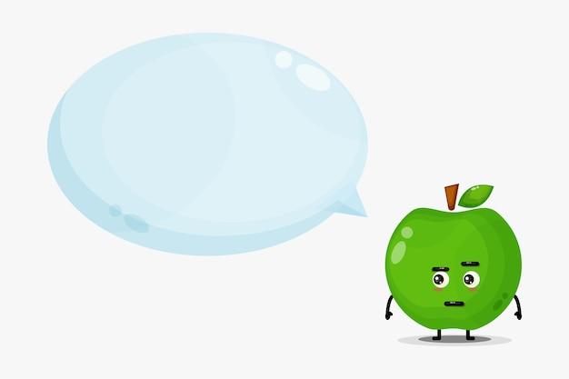 Mascote de maçã verde fofa com discurso de bolha