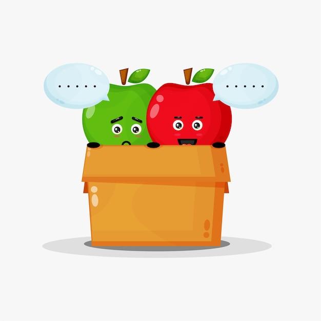 Mascote de maçã verde fofa e maçã vermelha na caixa