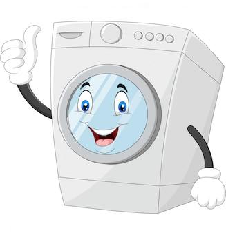 Mascote de máquina de lavar roupa dando polegares para cima