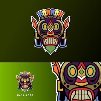 Mascote de máscara de primitivo colorido esporte esport logotipo modelo