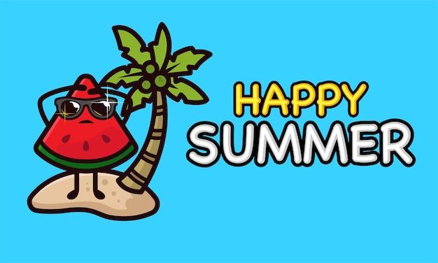 Mascote de melancia legal em modelo de banner de férias de verão