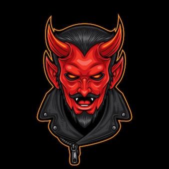 Mascote de motociclista de cabeça de diabo