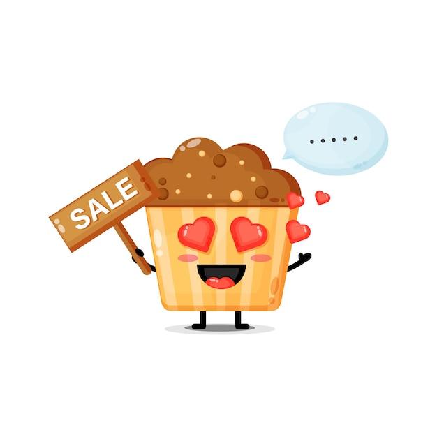 Mascote de muffins fofo com o sinal de vendas