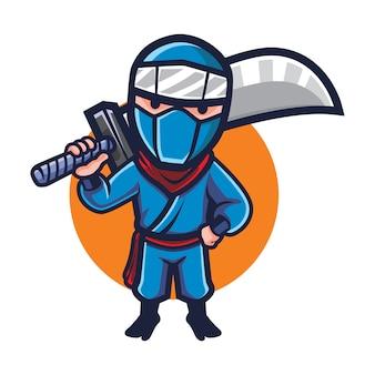 Mascote de ninja de lâmina grande dos desenhos animados