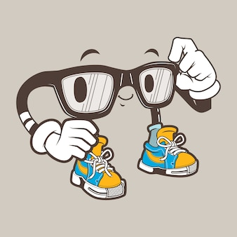 Mascote de óculos nerd legal