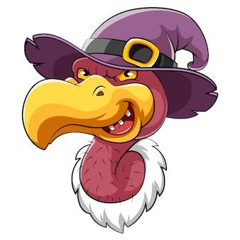 Mascote de pássaro urubu cabeça com chapéu de bruxa de ilustração