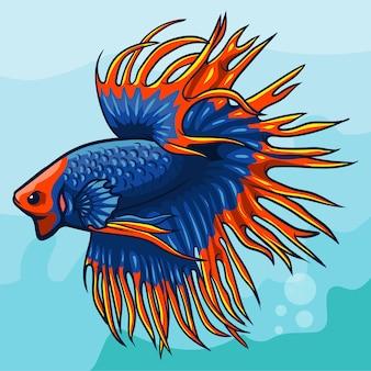 Mascote de peixe betta cauda de coroa. design do logotipo esport