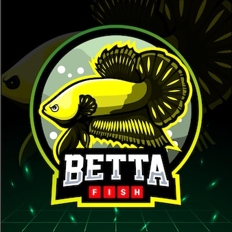 Mascote de peixe betta. design do logotipo esport.