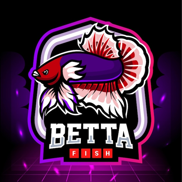 Mascote de peixe betta orelha dumbo. design do logotipo esport