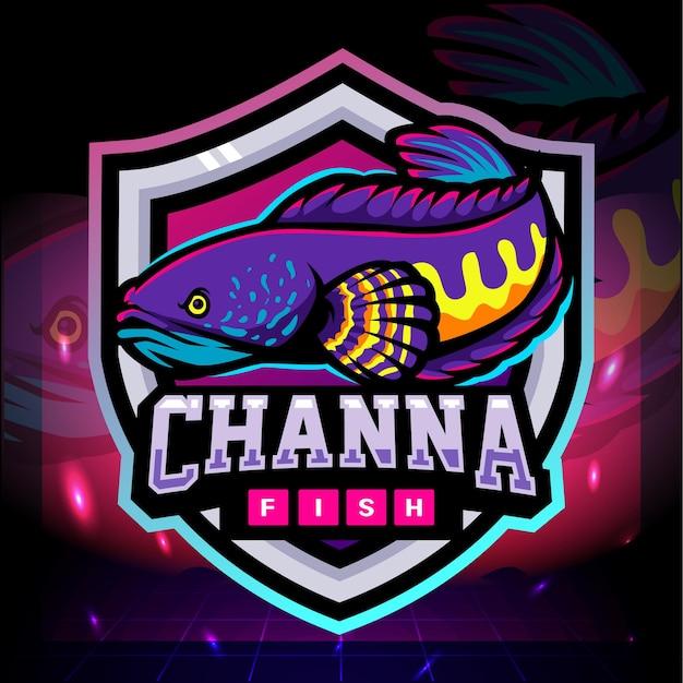 Mascote de peixe de channa. design do logotipo esport