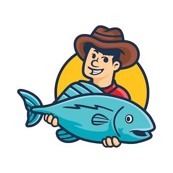 Mascote de peixe grande dos desenhos animados