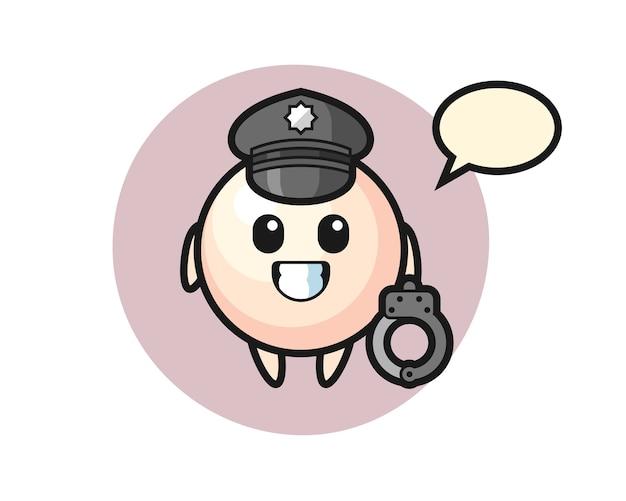 Mascote de pérola de desenho animado como policial