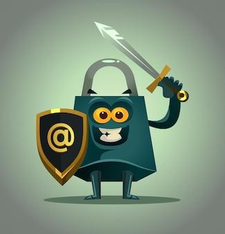Mascote de personagem de bloqueio forte pronto para proteger dados pessoais.