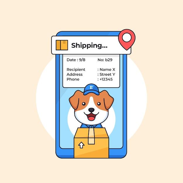 Mascote de personagem de cachorro para serviço de entrega de pacotes com ilustração de aplicativo de rastreamento de localização móvel