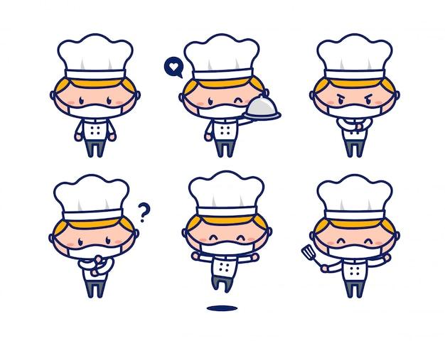 Mascote de personagem de chef masculino bonito conjunto usar máscara facial novo normal