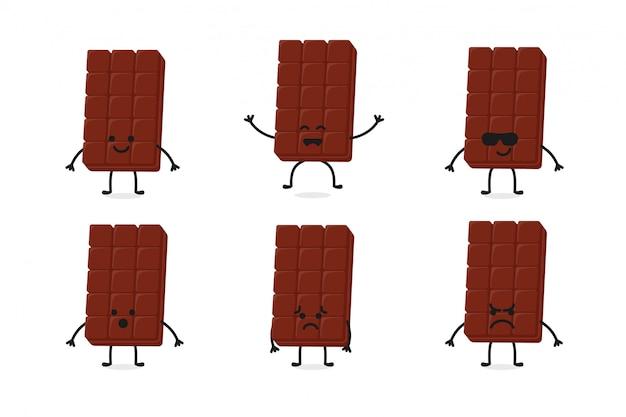 Mascote de personagem de chocolate fofo plana